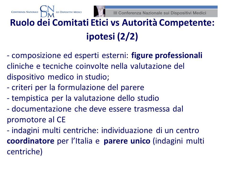 Ruolo dei Comitati Etici vs Autorità Competente: ipotesi (2/2)