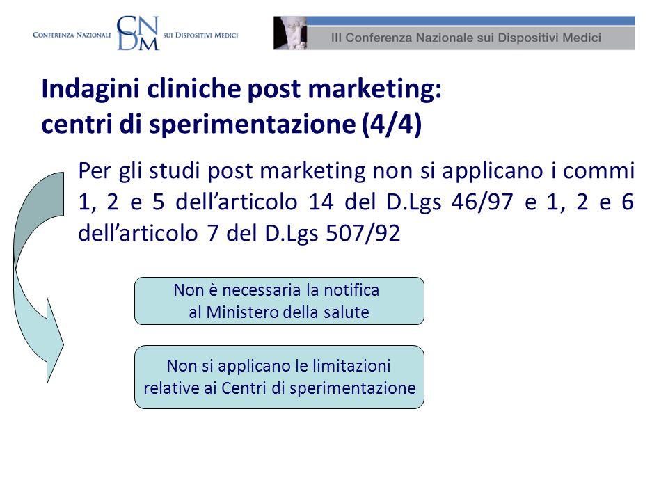 Indagini cliniche post marketing: centri di sperimentazione (4/4)