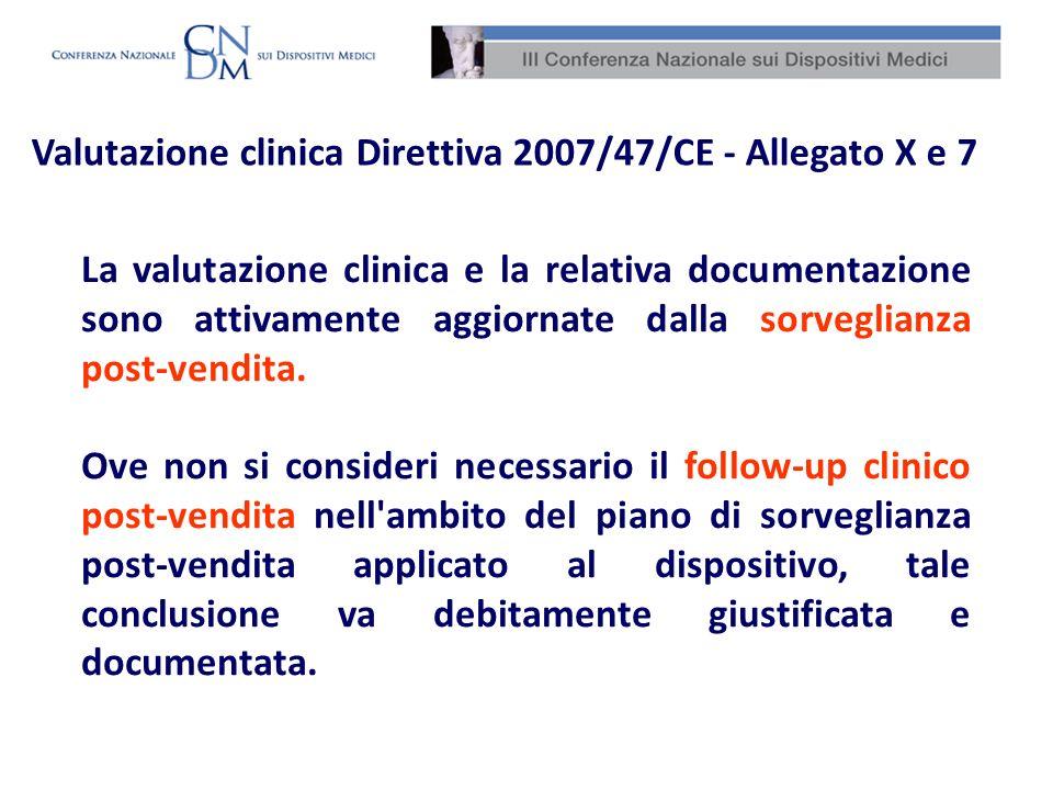 Valutazione clinica Direttiva 2007/47/CE - Allegato X e 7