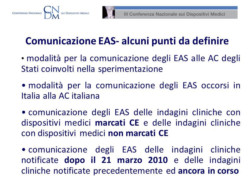 Comunicazione EAS- alcuni punti da definire