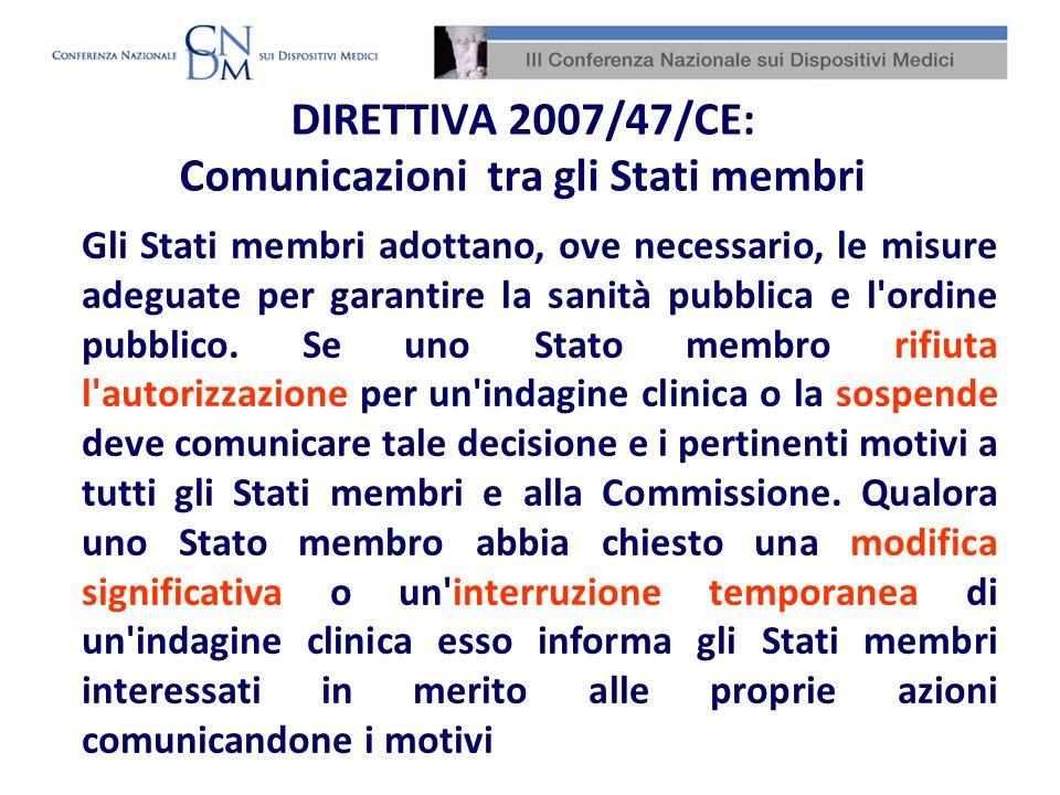 DIRETTIVA 2007/47/CE: Comunicazioni tra gli Stati membri
