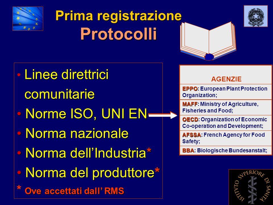 Prima registrazione Protocolli