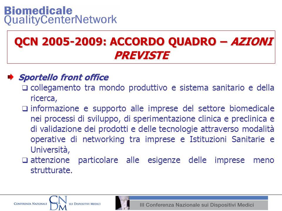 QCN 2005-2009: ACCORDO QUADRO – AZIONI PREVISTE