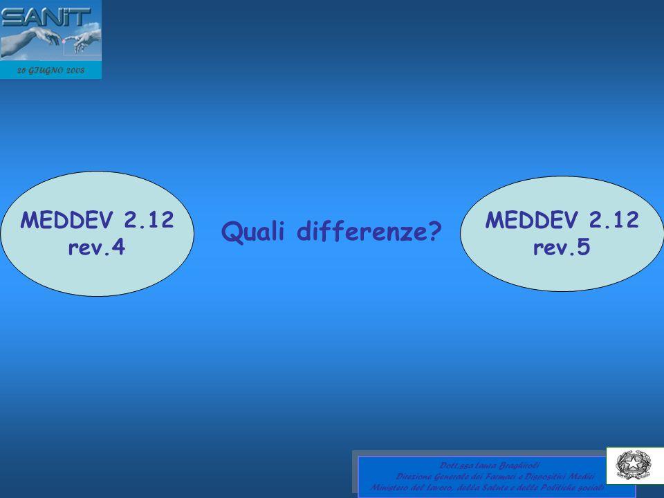 Quali differenze MEDDEV 2.12 MEDDEV 2.12 rev.4 rev.5 25 GIUGNO 2008