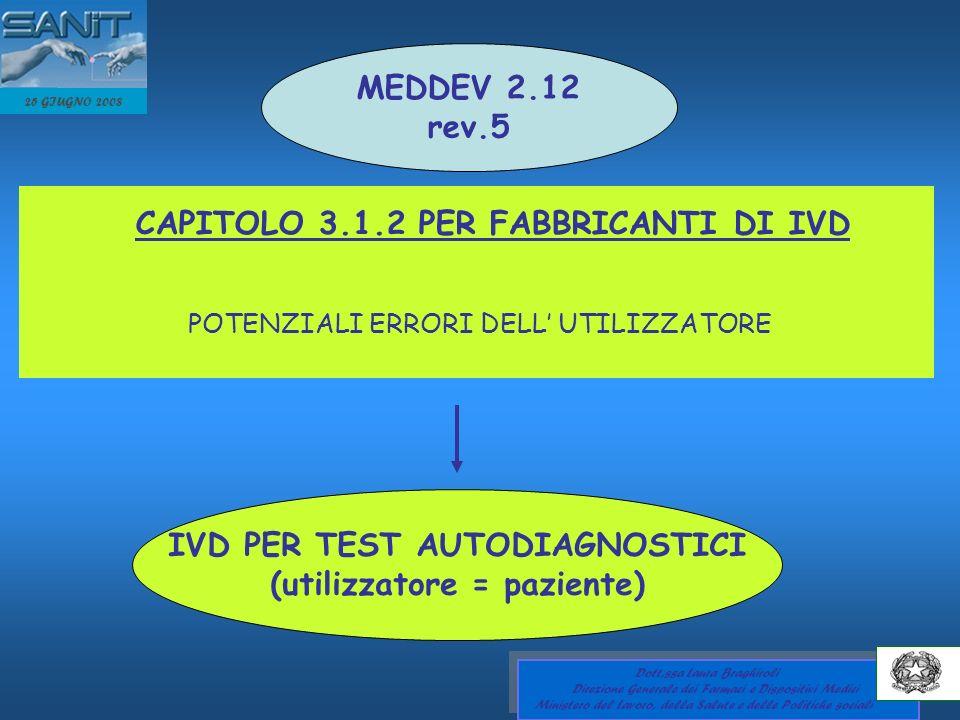IVD PER TEST AUTODIAGNOSTICI (utilizzatore = paziente)