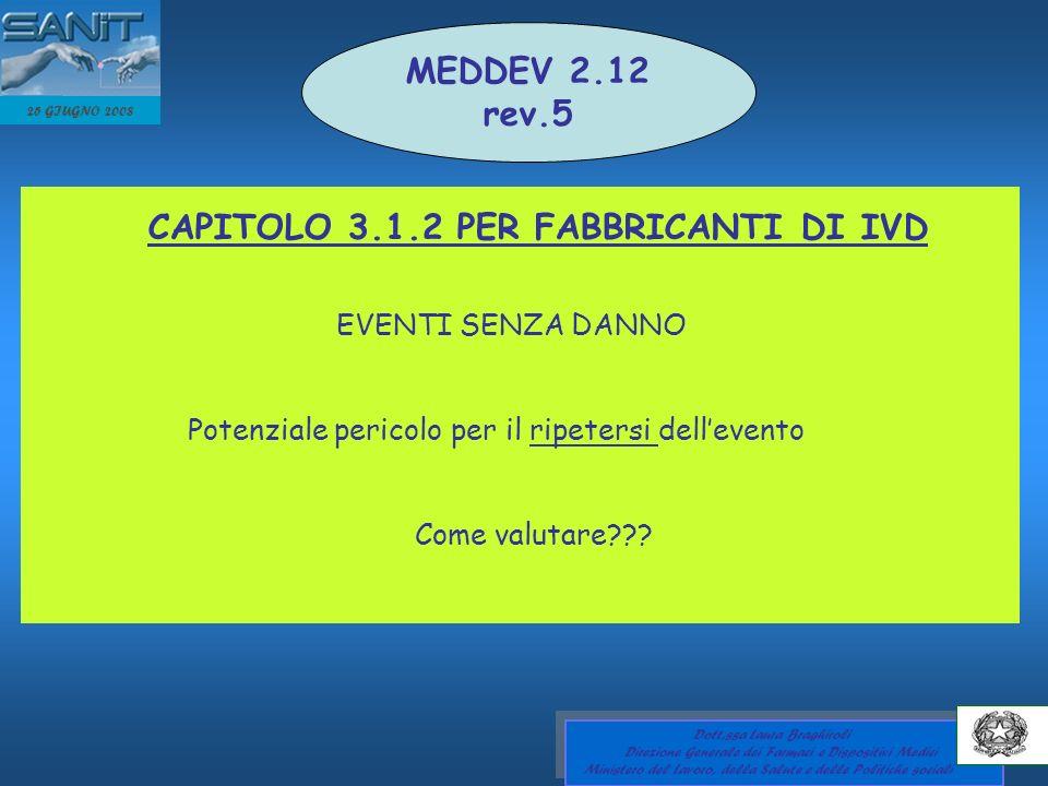 MEDDEV 2.12 rev.5 CAPITOLO 3.1.2 PER FABBRICANTI DI IVD
