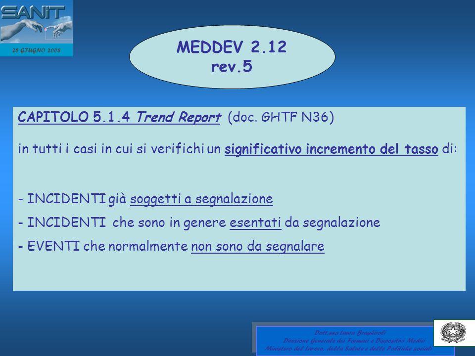 MEDDEV 2.12 rev.5 CAPITOLO 5.1.4 Trend Report (doc. GHTF N36)