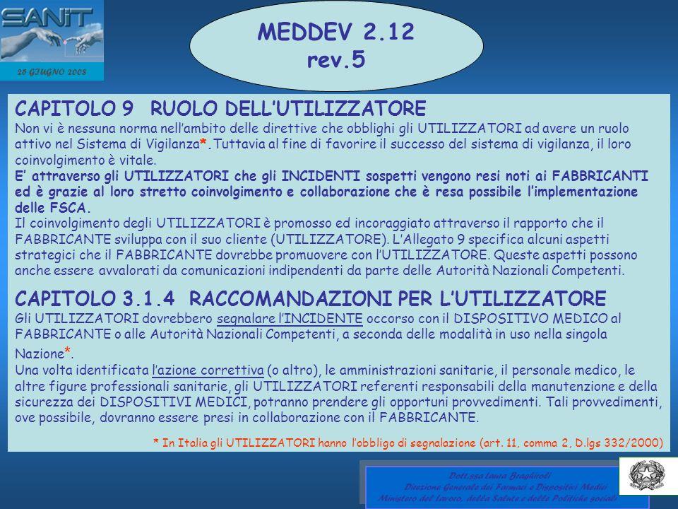 MEDDEV 2.12 rev.5 CAPITOLO 9 RUOLO DELL'UTILIZZATORE
