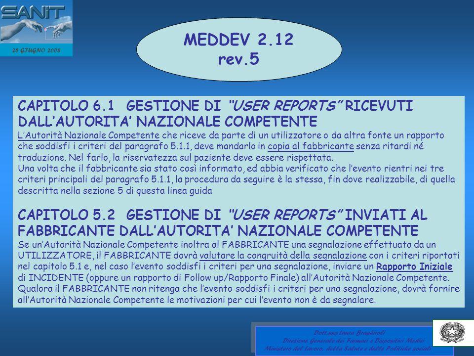 MEDDEV 2.12 rev.5. 25 GIUGNO 2008. CAPITOLO 6.1 GESTIONE DI USER REPORTS RICEVUTI DALL'AUTORITA' NAZIONALE COMPETENTE.