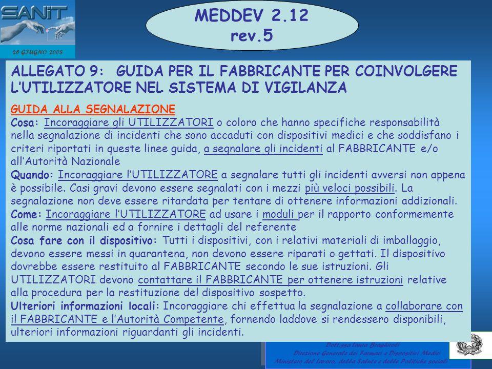 MEDDEV 2.12 rev.5. 25 GIUGNO 2008. ALLEGATO 9: GUIDA PER IL FABBRICANTE PER COINVOLGERE L'UTILIZZATORE NEL SISTEMA DI VIGILANZA.