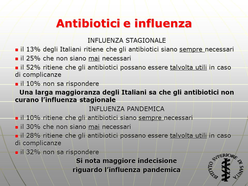 Antibiotici e influenza Si nota maggiore indecisione