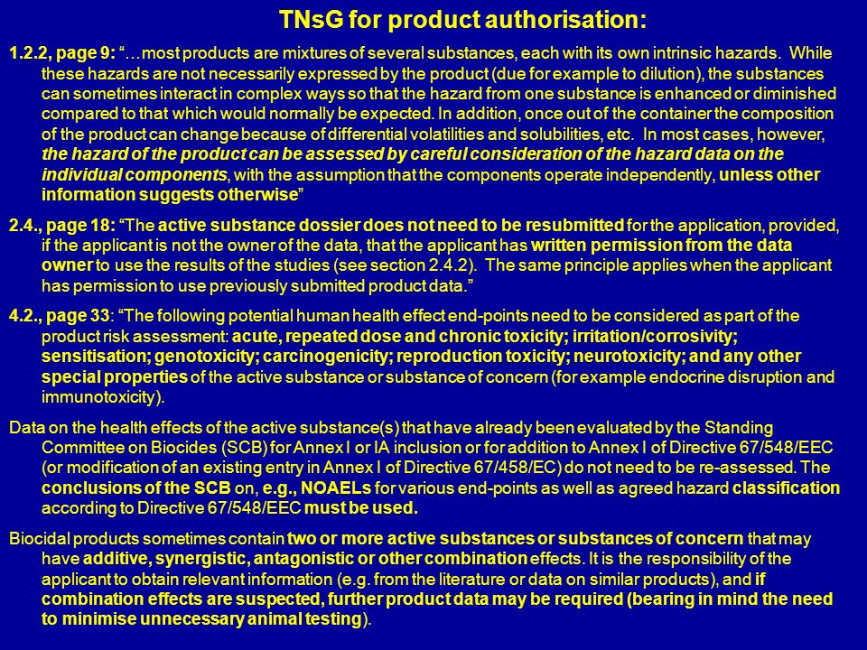 TNsG for product authorisation: