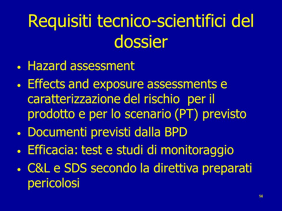 Requisiti tecnico-scientifici del dossier