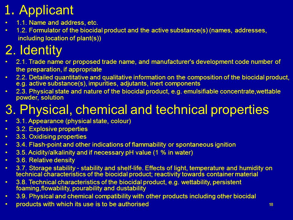 3. Physical, chemical and technical properties