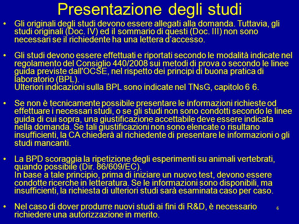 Presentazione degli studi