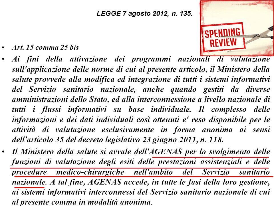 LEGGE 7 agosto 2012, n. 135. Art. 15 comma 25 bis.
