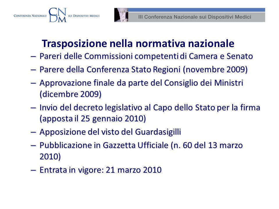 Trasposizione nella normativa nazionale