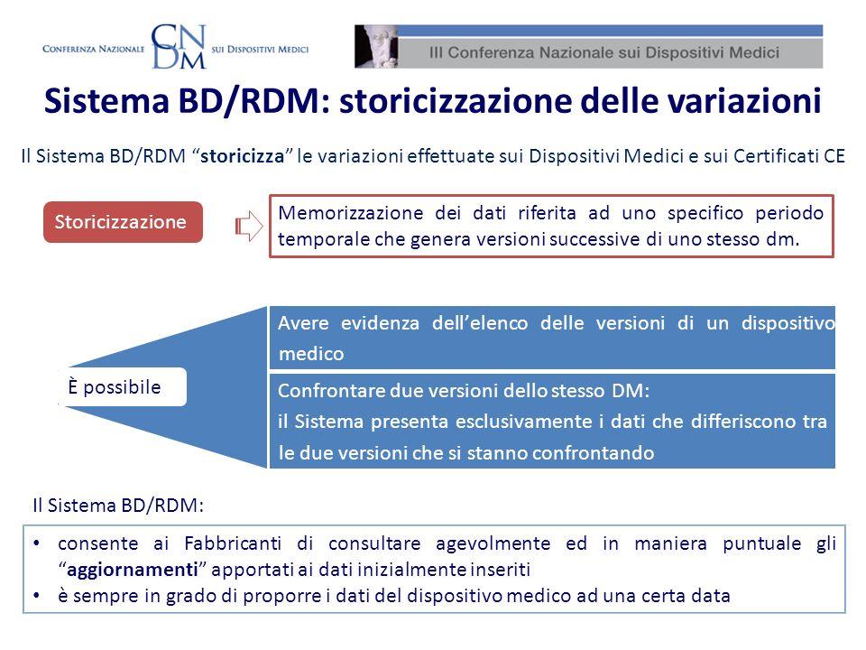 Sistema BD/RDM: storicizzazione delle variazioni