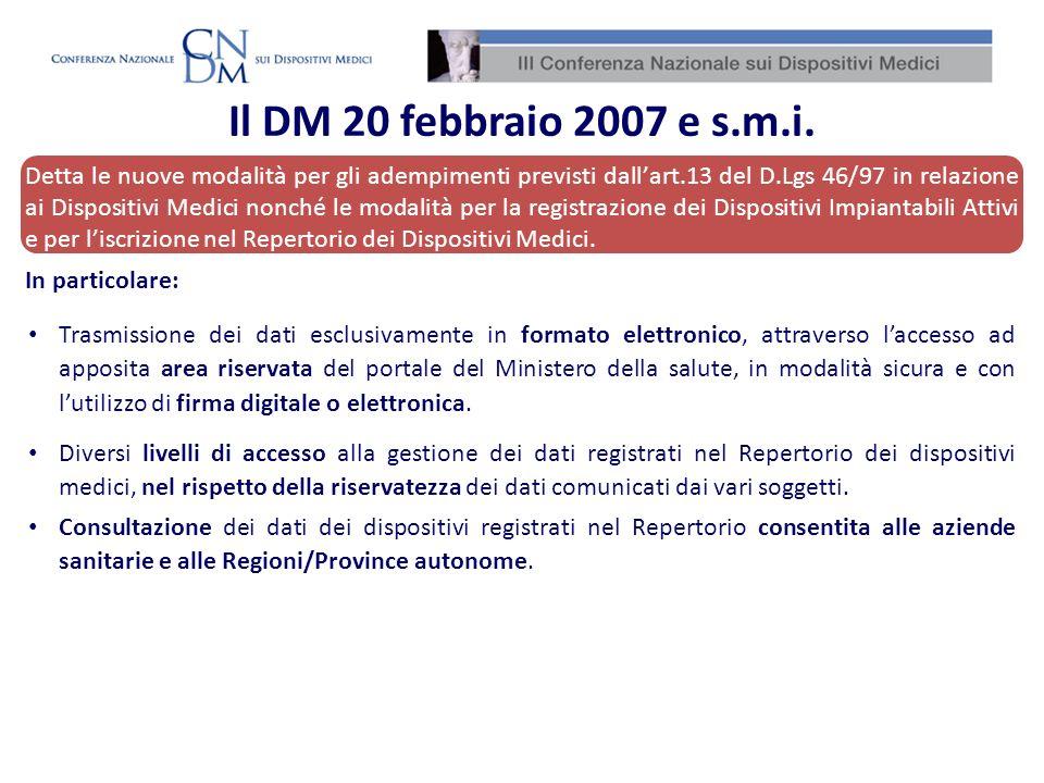 Il DM 20 febbraio 2007 e s.m.i.
