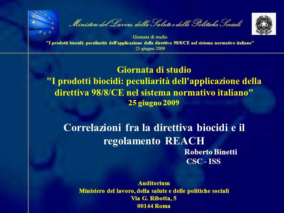 Correlazioni fra la direttiva biocidi e il regolamento REACH