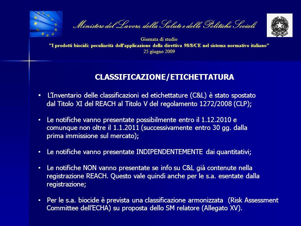 CLASSIFICAZIONE/ETICHETTATURA