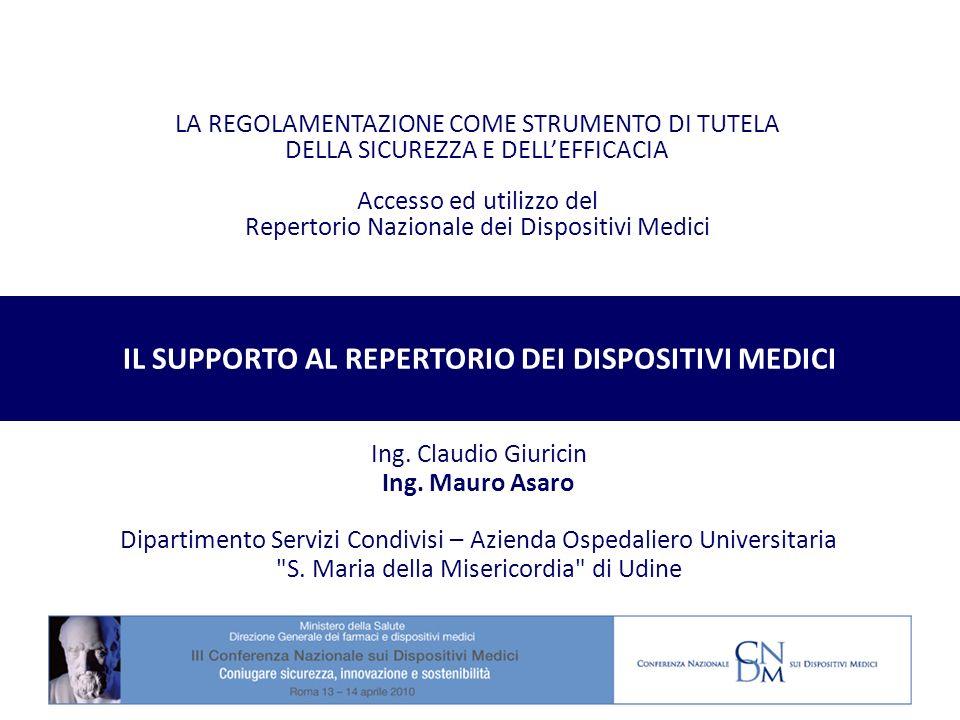 IL SUPPORTO AL REPERTORIO DEI DISPOSITIVI MEDICI