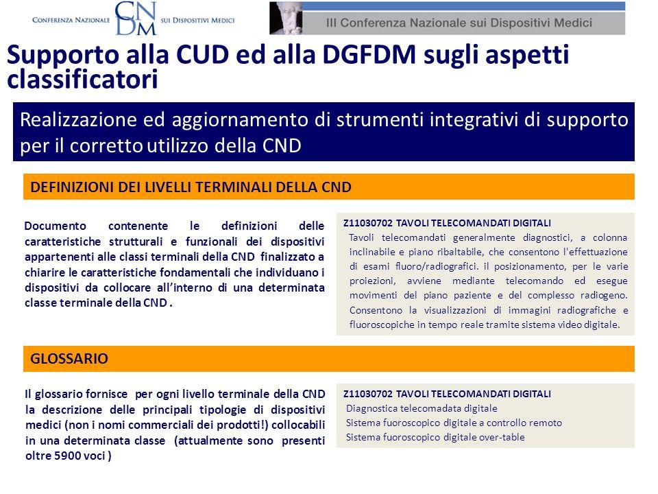Supporto alla CUD ed alla DGFDM sugli aspetti classificatori