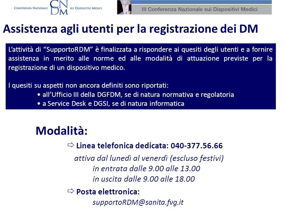 Assistenza agli utenti per la registrazione dei DM