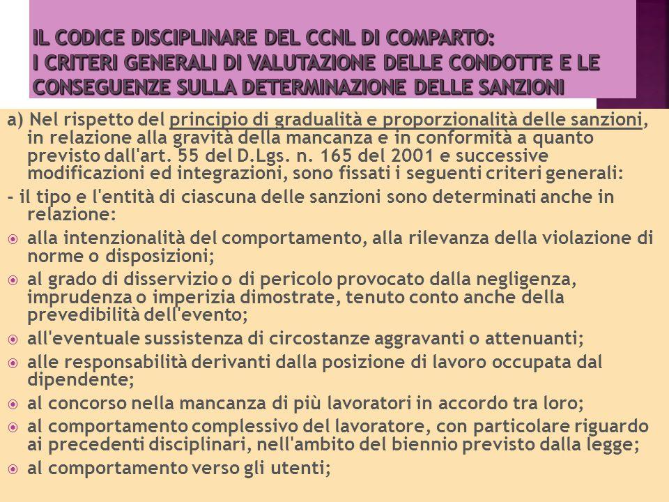 Il Codice disciplinare del Ccnl di comparto: i criteri generali di valutazione delle condotte e le conseguenze sulla determinazione delle sanzioni