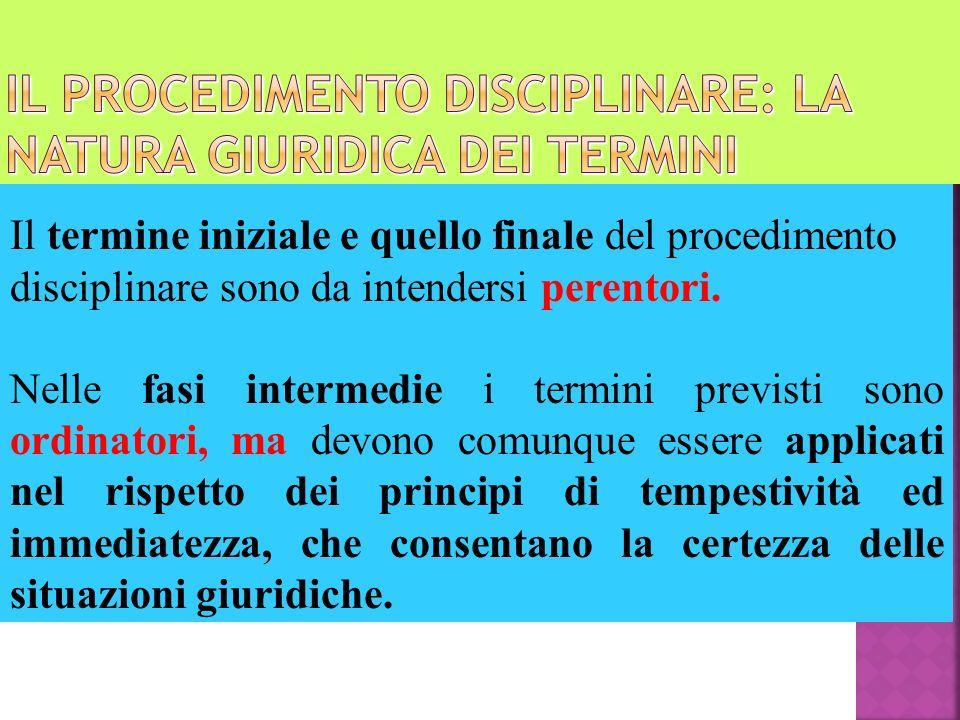Il procedimento disciplinare: la natura giuridica dei termini