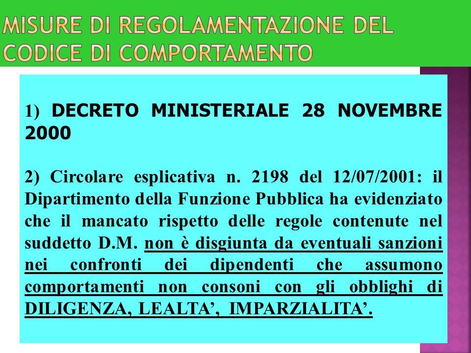 MISURE DI REGOLAMENTAZIONE DEL CODICE DI COMPORTAMENTO