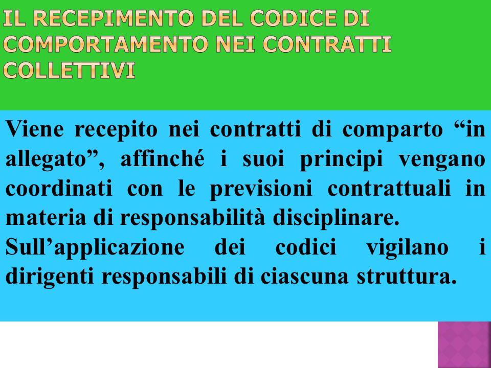 Il recepimento del codice di comportamento nei contratti collettivi