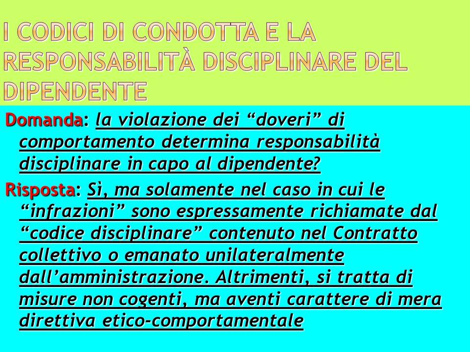 I codici di condotta e la responsabilità disciplinare del dipendente