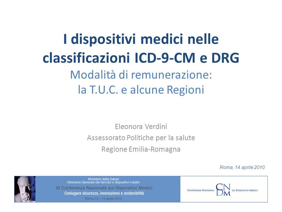 I dispositivi medici nelle classificazioni ICD-9-CM e DRG Modalità di remunerazione: la T.U.C. e alcune Regioni