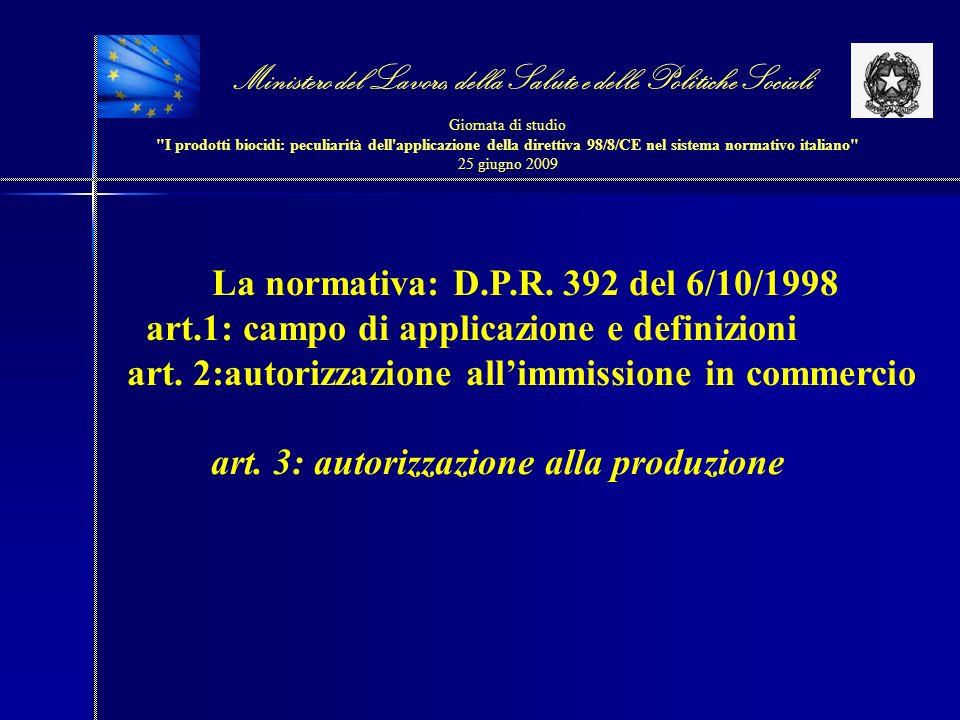 La normativa: D.P.R. 392 del 6/10/1998