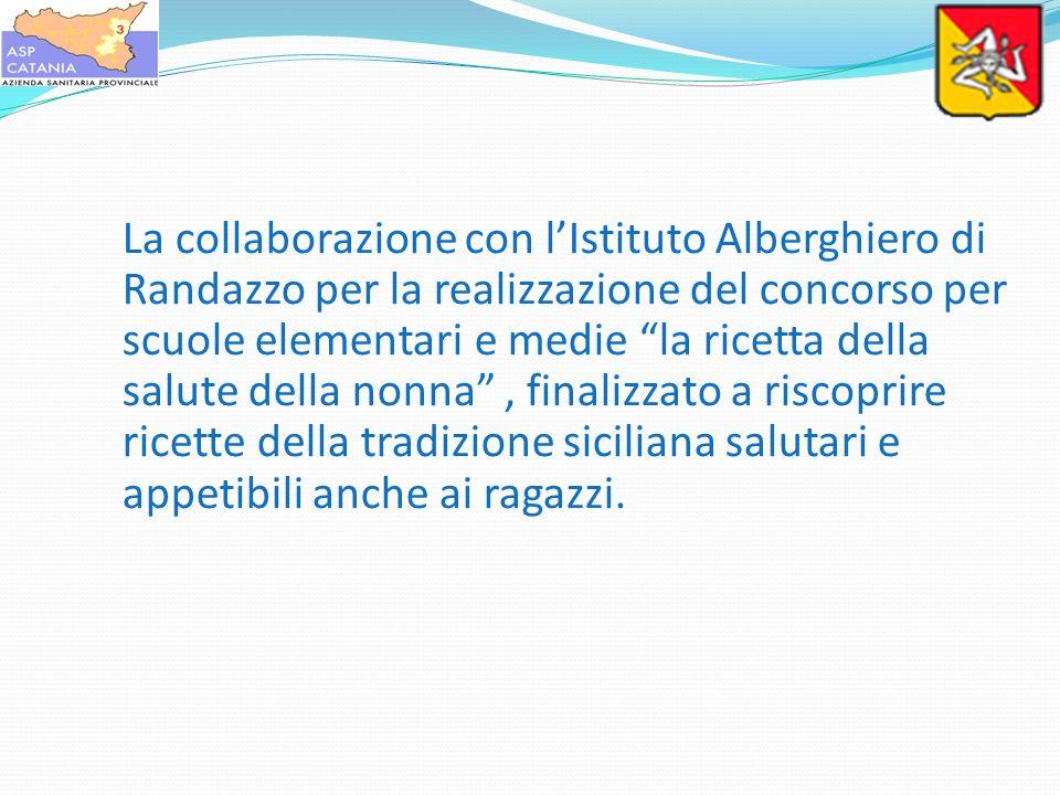 La collaborazione con l'Istituto Alberghiero di Randazzo per la realizzazione del concorso per scuole elementari e medie la ricetta della salute della nonna , finalizzato a riscoprire ricette della tradizione siciliana salutari e appetibili anche ai ragazzi.