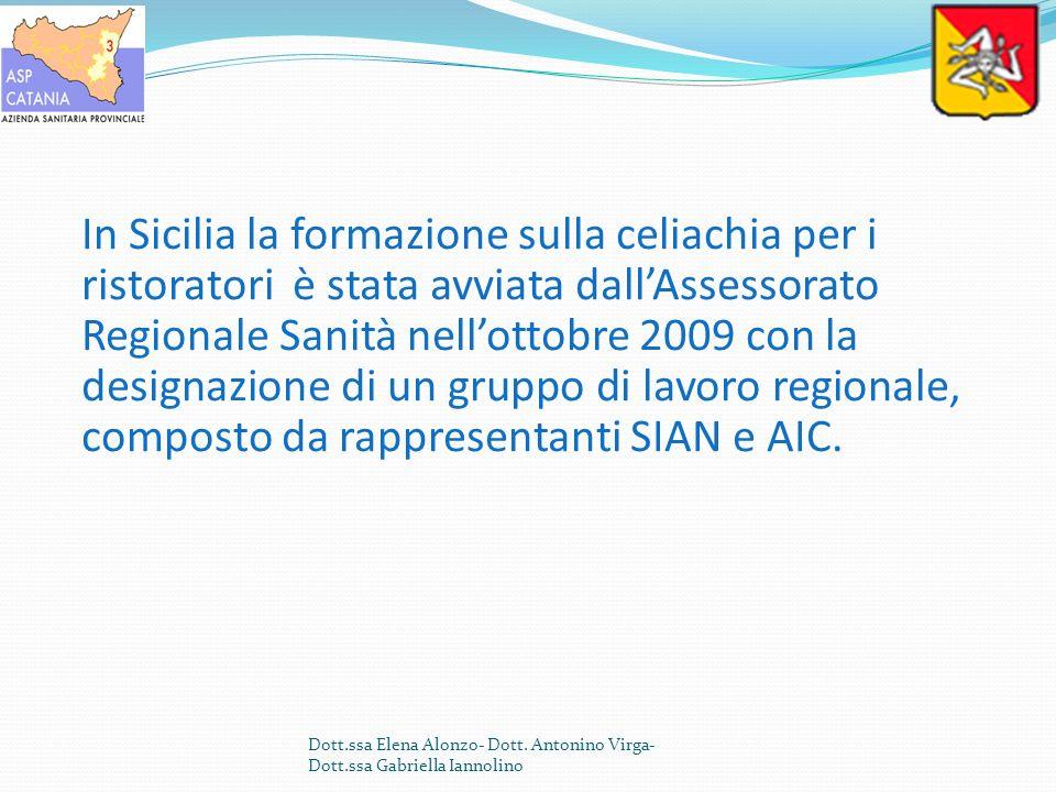 In Sicilia la formazione sulla celiachia per i ristoratori è stata avviata dall'Assessorato Regionale Sanità nell'ottobre 2009 con la designazione di un gruppo di lavoro regionale, composto da rappresentanti SIAN e AIC.