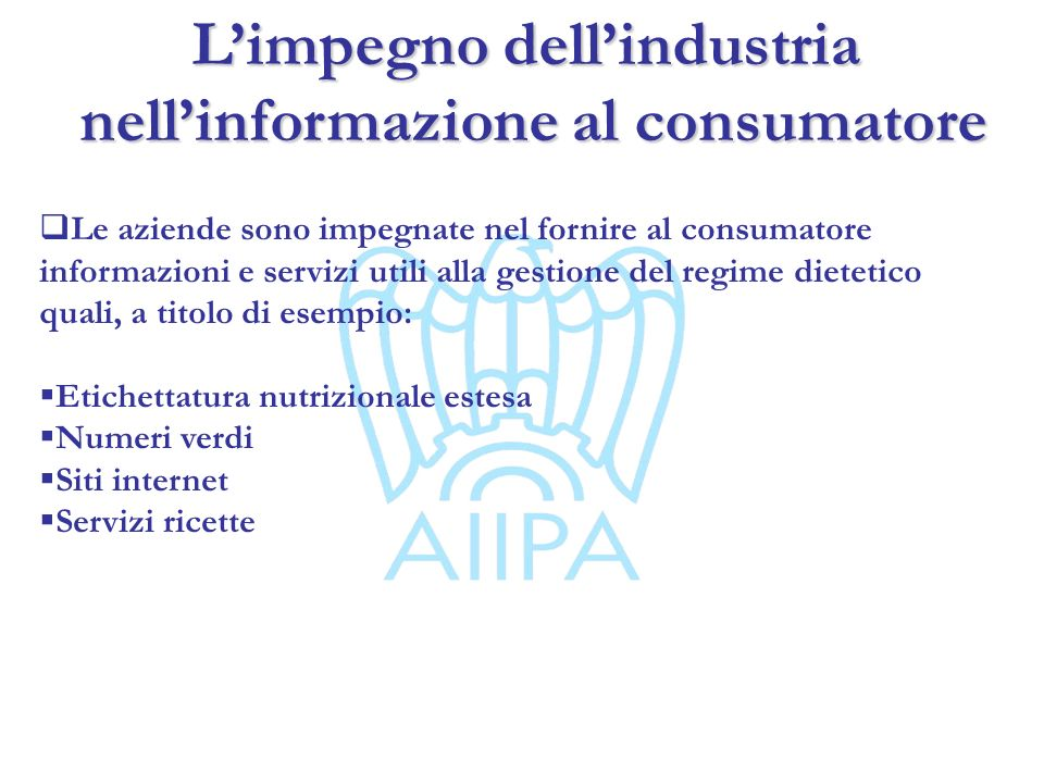 L'impegno dell'industria nell'informazione al consumatore