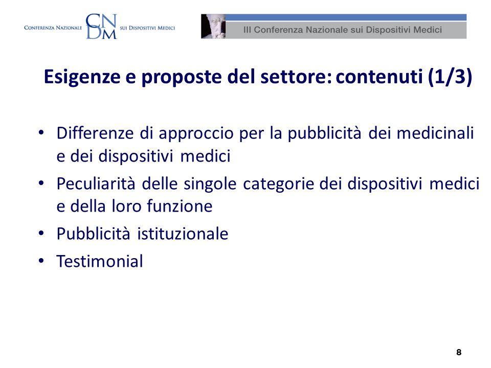 Esigenze e proposte del settore: contenuti (1/3)