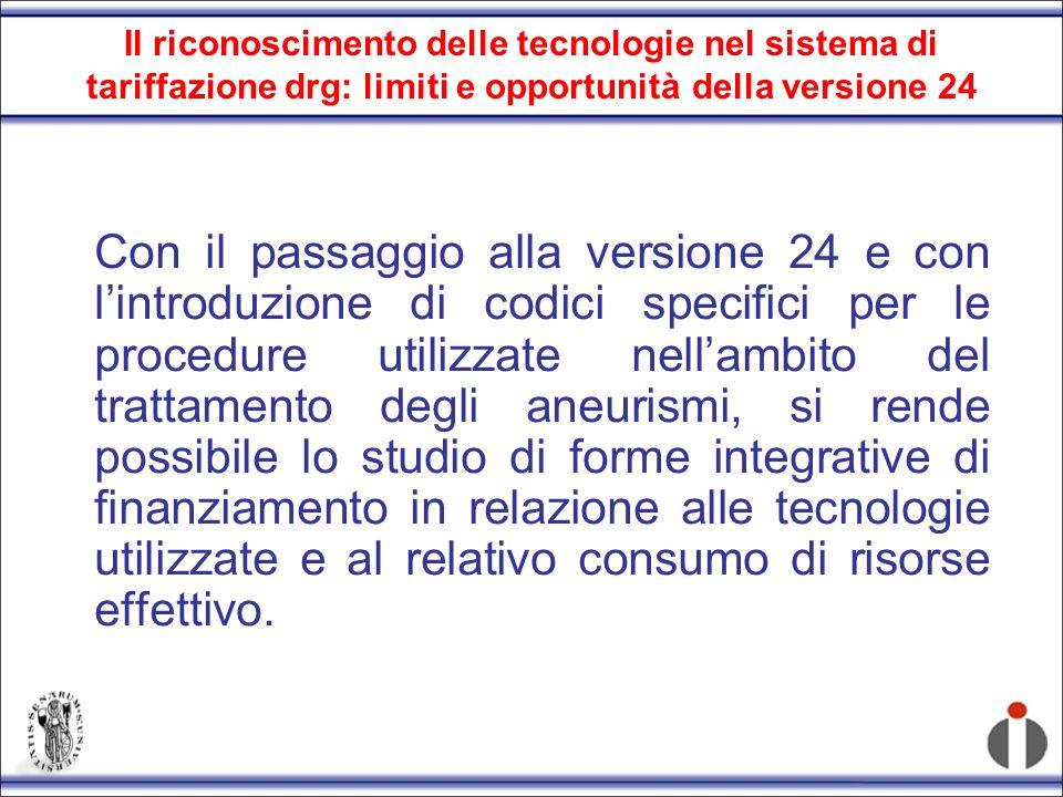 Il riconoscimento delle tecnologie nel sistema di tariffazione drg: limiti e opportunità della versione 24
