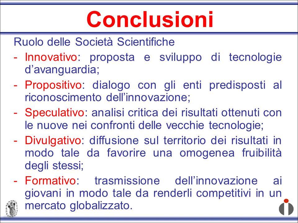 Conclusioni Ruolo delle Società Scientifiche