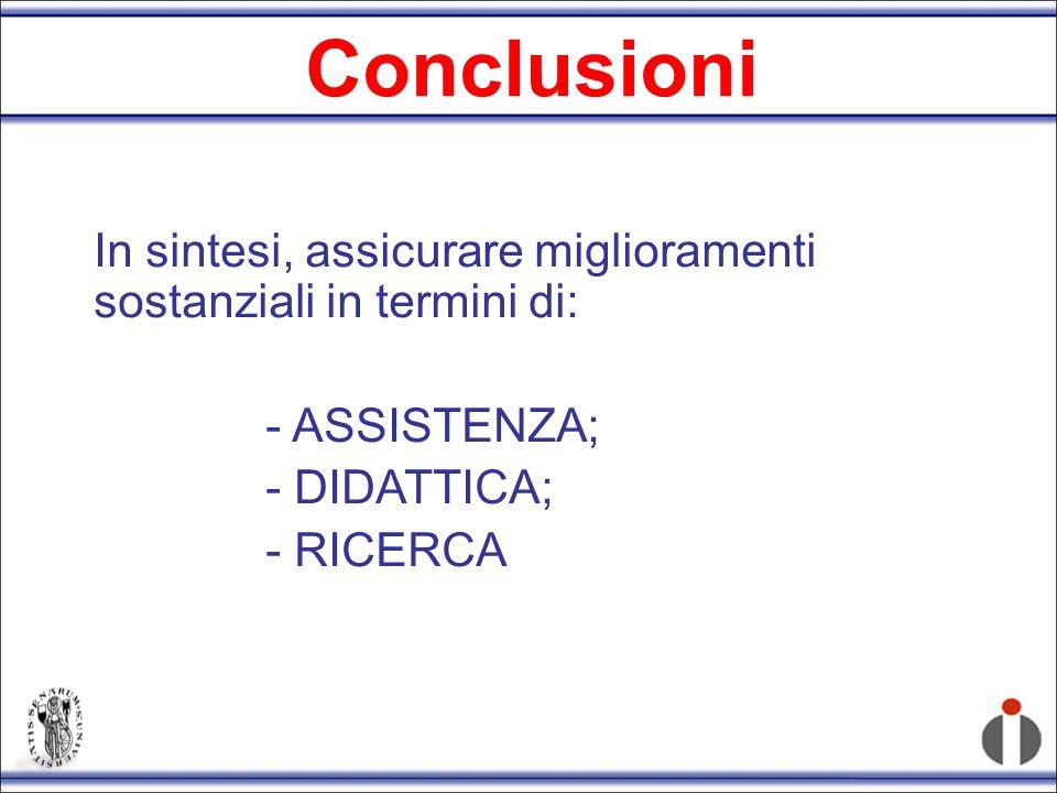 Conclusioni In sintesi, assicurare miglioramenti sostanziali in termini di: - ASSISTENZA; - DIDATTICA;