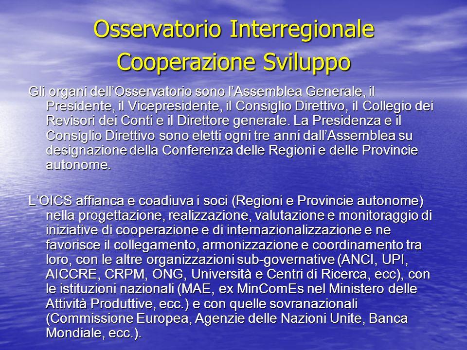 Osservatorio Interregionale Cooperazione Sviluppo