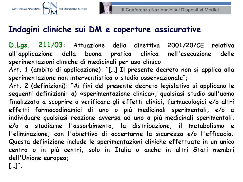 Indagini cliniche sui DM e coperture assicurative