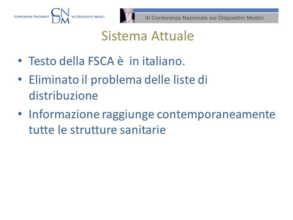 Sistema Attuale Testo della FSCA è in italiano.