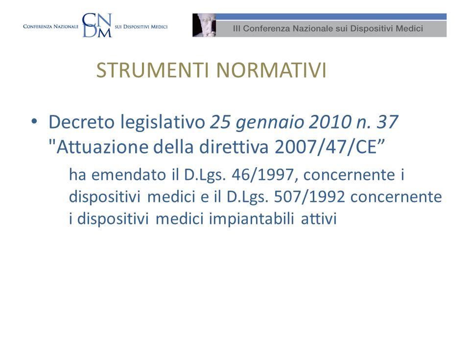 STRUMENTI NORMATIVI Decreto legislativo 25 gennaio 2010 n. 37 Attuazione della direttiva 2007/47/CE