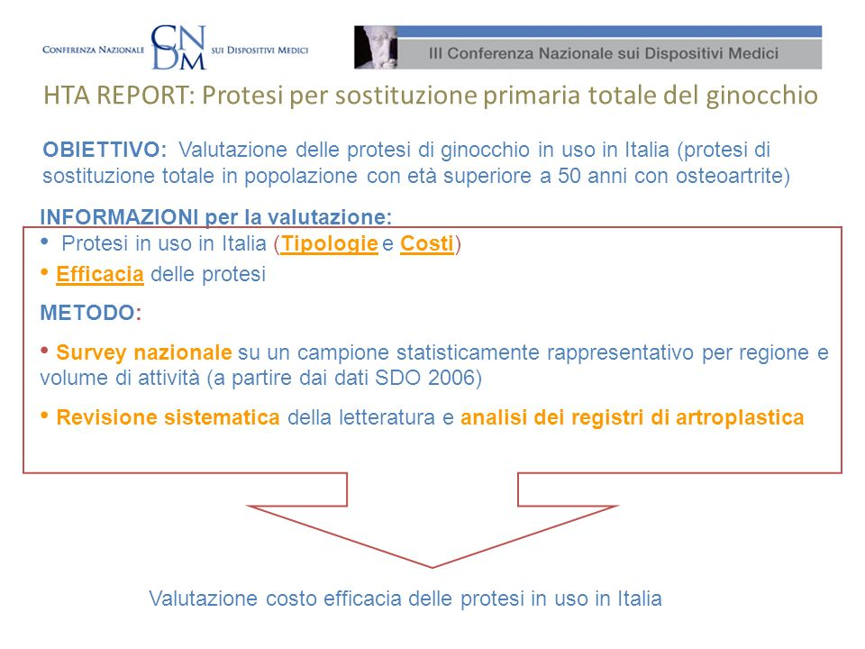 HTA REPORT: Protesi per sostituzione primaria totale del ginocchio