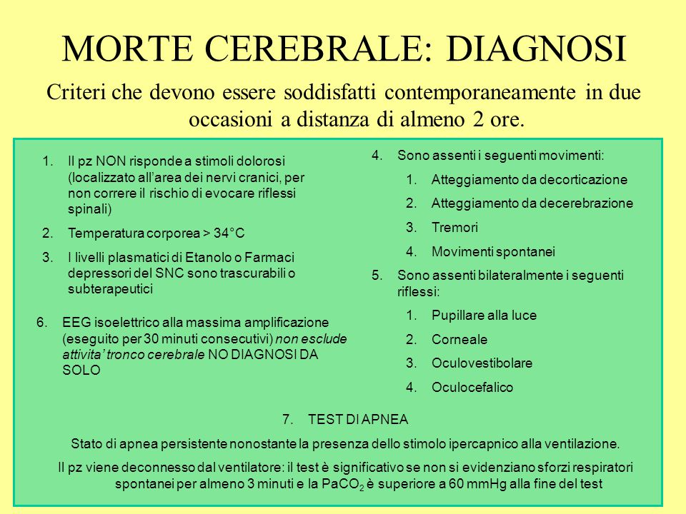 MORTE CEREBRALE: DIAGNOSI
