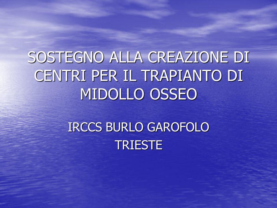 SOSTEGNO ALLA CREAZIONE DI CENTRI PER IL TRAPIANTO DI MIDOLLO OSSEO