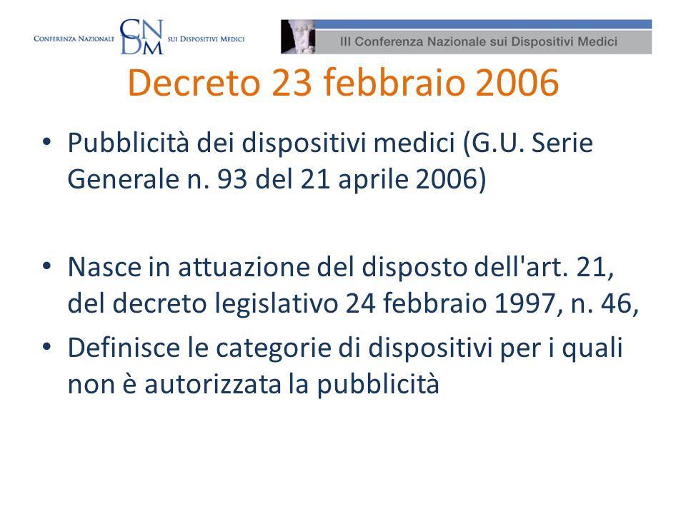 Decreto 23 febbraio 2006 Pubblicità dei dispositivi medici (G.U. Serie Generale n. 93 del 21 aprile 2006)